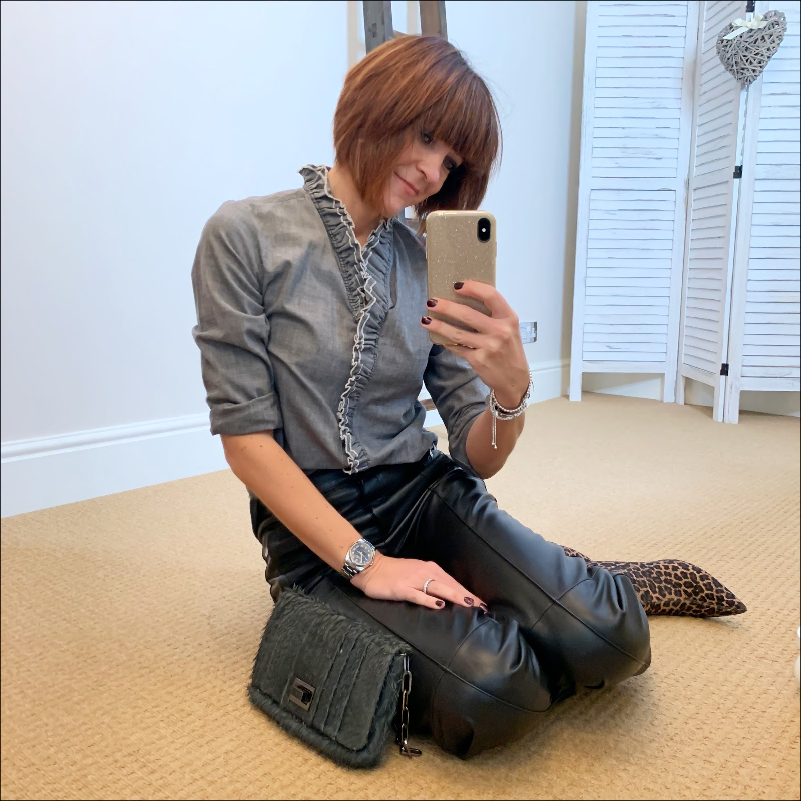 my midlife fashion, isabel marant etoile frill chambray shirt, marks and spencer straight leg leather trousers, zara leopard print sock boots