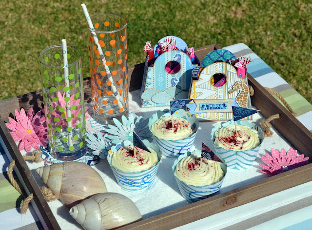 Party Items by Denise van Deventer using BoBunny Down by the Sea Collection and Flower Fun Stencils