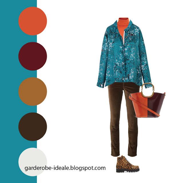 Сочетание бирюзовой блузки с оранжевой водолазкой и красной сумкой