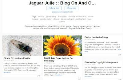 Blogarama Page of Jaguar Julie Stolen Blog Posts