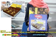 Sprei D Luxe Kintakun LV King 180×200 2 Sarung Bantal 2 Sarung Guling Coklat Ornamen Dewasa Micro Tex Disperse