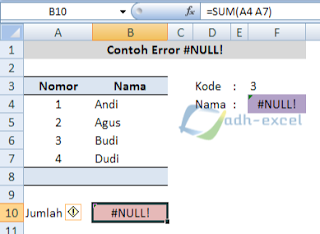error #NULL! in excel function