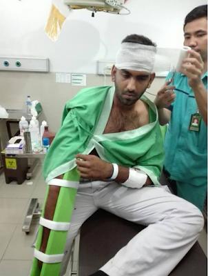 Umar Ali Laskar FPI dikeroyok oleh 5 Orang Preman, Yang menyebabkan patah tulang tangan kanan dan luka lecet dikepala