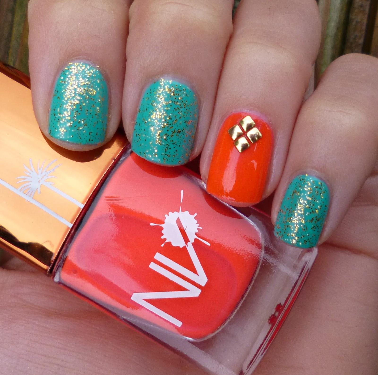 Lou Is Perfectly Polished Christmas Nails Christmas Trees: Lou Is Perfectly Polished: Turquoise And Orange: Same