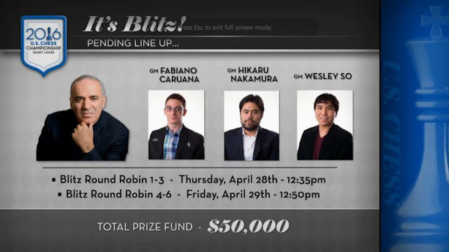 Blitz entre Kasparov, Caruana, Nakamura y So