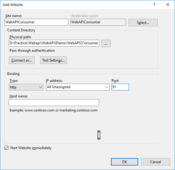 Web API2 CRUD operations using Entity Framework and MVC