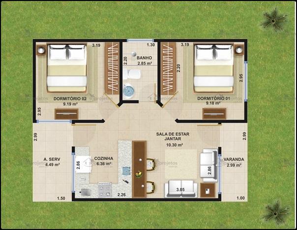 Plantas de casas populares pequenas confort veis e bem for Precio reforma completa piso 70 metros