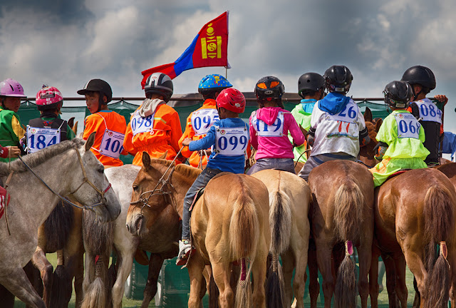 Lining up for the start of a horse race at the Bulgan Naadam in northern Mongolia.
