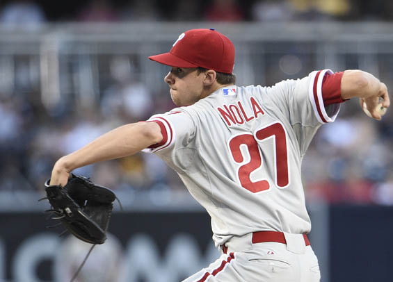Aaron Nola looks for his first win tonight against the Reds