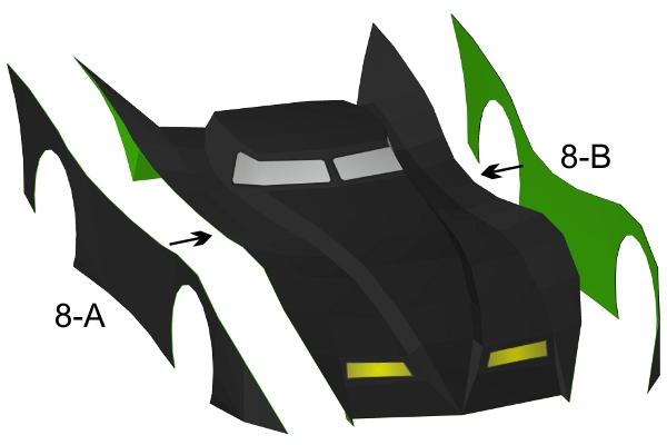 Step 8 in Batmobile paper model build instruction
