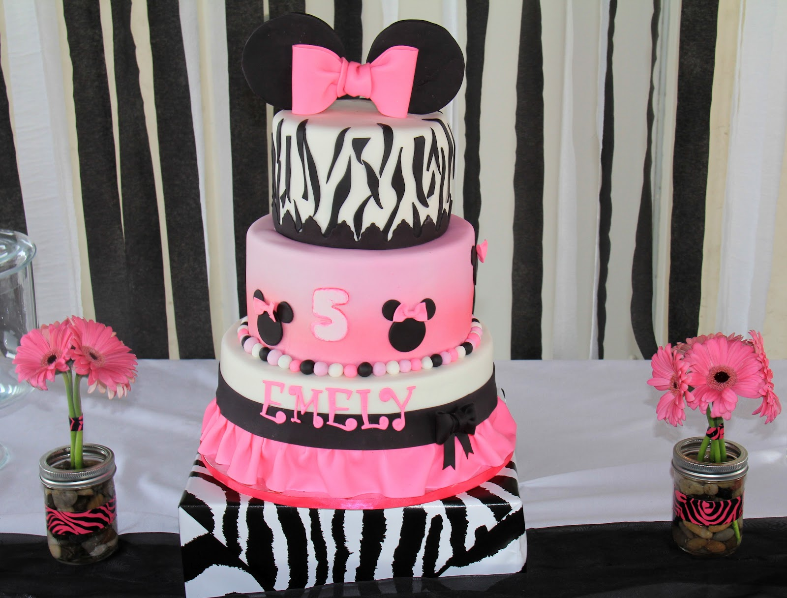 Threelittlebirds Minnie Mouse Zebra Print Dessert Table