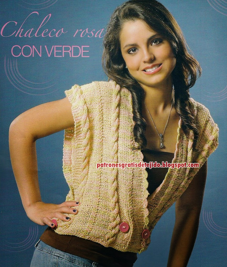 Chaleco juvenil tricot palillos dos agujas