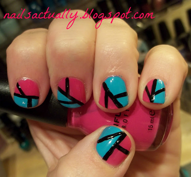 nails pink and teal color