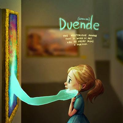 Duende (palavra espanhola). Mostra uma menina diante de um quadro  e uma mão saindo do quadro e dando carinho para a menina.