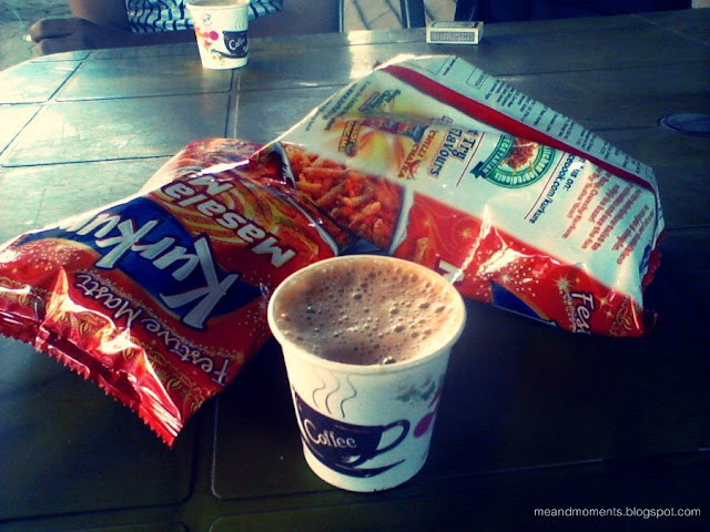 coffee with snacks, kurkure and snaks
