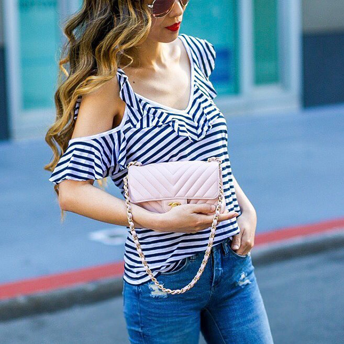 splended stripe rufflee tee, chanel classic flap bag, baublebar earrings, san francisco fashion blog, san francisco street style