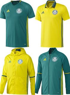 5b3298f9f4bc4 A adidas e o Palmeiras lançaram nesta terça (13) o novo uniforme de treino  e viagem do clube nas cores verde e amarelo. Os jogadores e a Comissão  Técnica ...