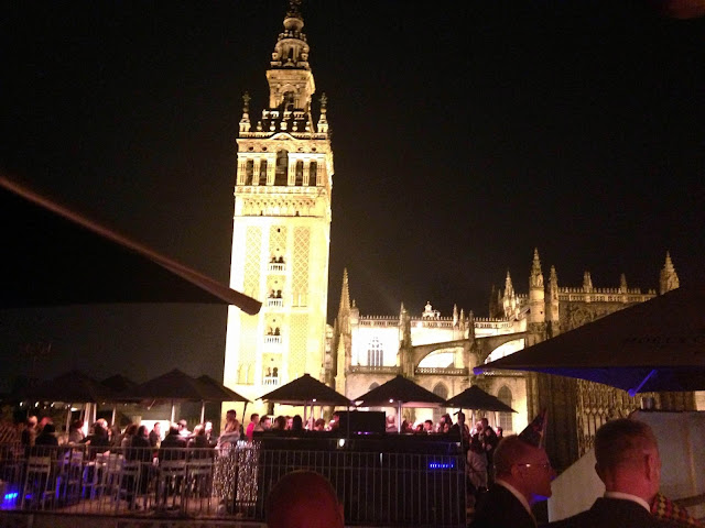 view of cathedral seville at night