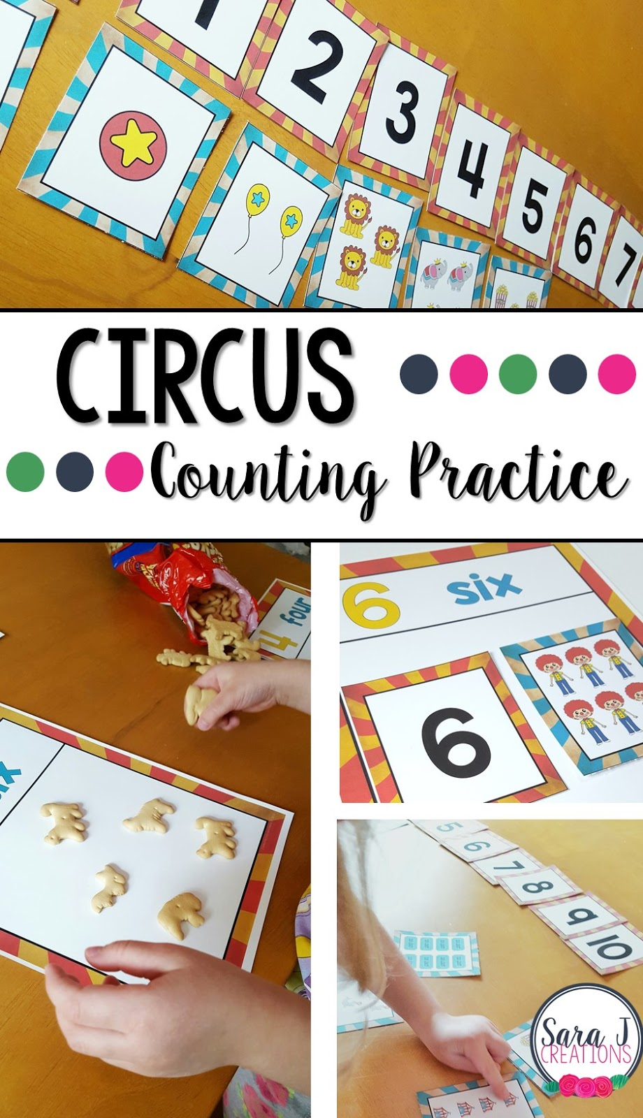 Cute ideas for using FREE circus themed number cards to practice sequencing, matching and 1 to 1 correspondence for numbers 1-10.