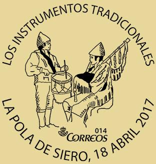 Matasellos El Ventolín 2017. Instrumentos tradicionales asturianos