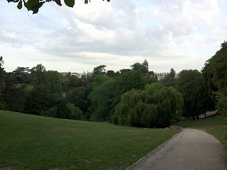 A view of the Parisian skyline, as seen from the Parc des Buttes Chaumont