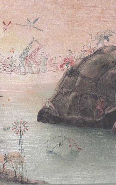 Ilustración del cuento La Pregunta del Elefante de la ilustradora belga Kaatje Vermeire