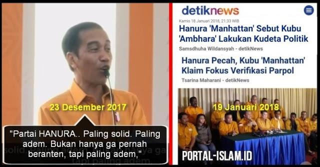 Kocak...!!! Jokowi Puji Hanura Partai Paling Solid, Tak Lama Kemudian Hanura Malah Pecah