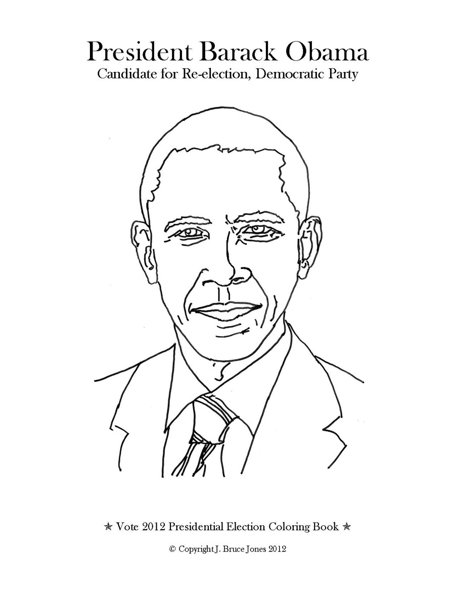 Free printable coloring pages of barack obama ~ Vote 2012 Presidential Election Coloring Book