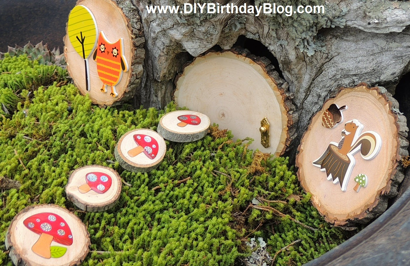 Wood Slice Door With Doorknob And Moss Owl Squirrel Mushrooms Tree Trunk