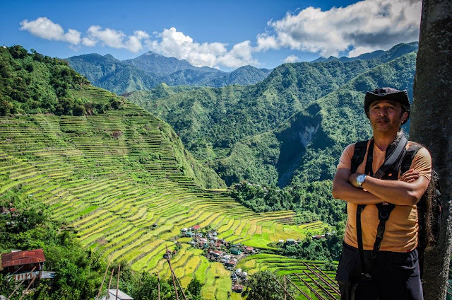 Self Portrature DSLR timed shot with Batad Rice Terraces Ifugao at the background