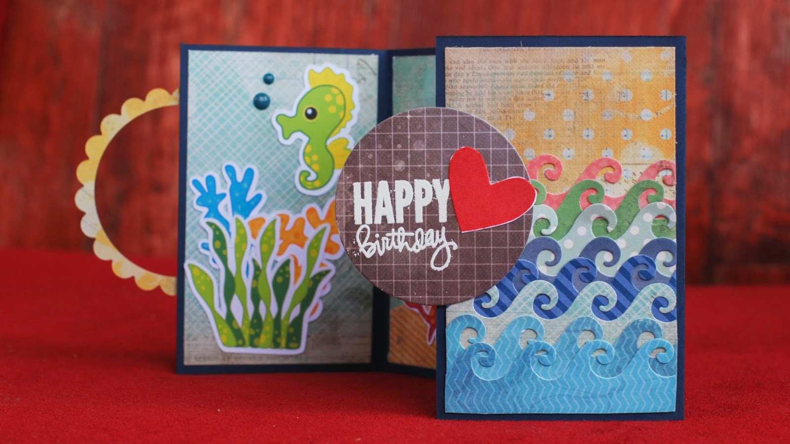 gate fold card under the sea using digital clip art set