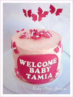 tarta y cupcakes baby shower niña