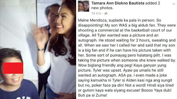 "A Facebook user claims that Maine Mendoza is a ""Suplada"""