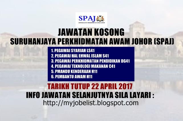 Jawatan Kosong Suruhanjaya Perkhidmatan Awam Johor (SPAJ) April 2017