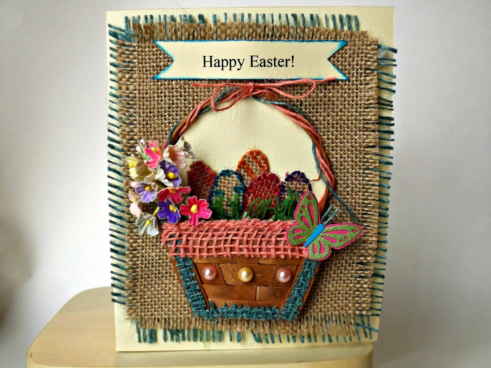 Magnetic Burlap Card for Easter - From Card to Decoration