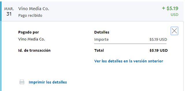 Pago recibido de Vino Media CO a Paypal
