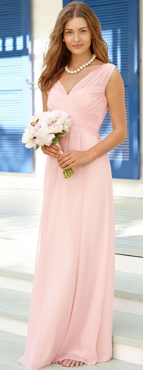 2017 Cheap A Line Chiffon Pearl Pink Long Bridesmaid Dress