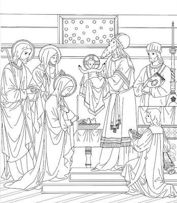 Presentación de Jesús en el templo colorear