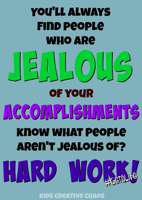 "quote about jealousy. ""You'll always find people who are jealous of your accomplishments. Know what people aren't jealous of? Hard work!"""