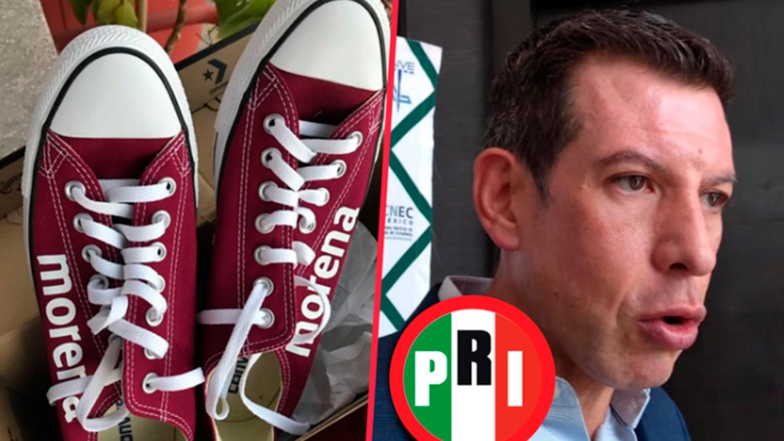 Acusa PRI a MORENA de entregar tenis a cambio de votos en elección de Puebla.