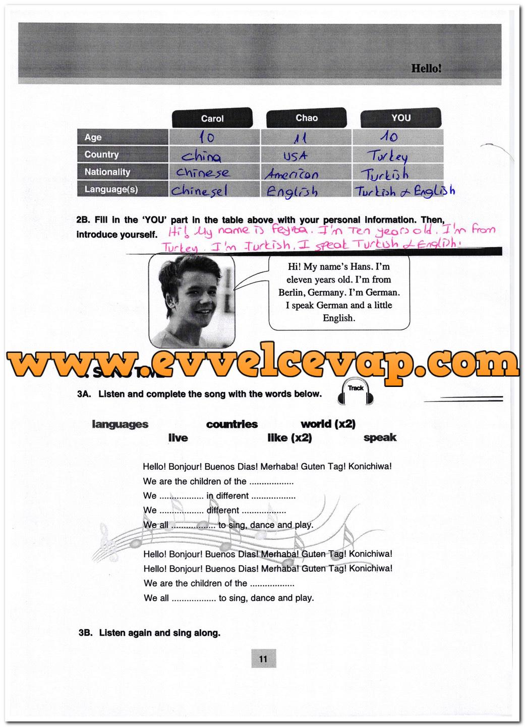 5. Sınıf Özgün Yayınları İngilizce 11. Sayfa Cevapları