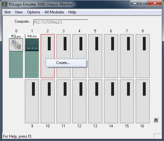Añadir un PLC simulado RSLogix Emulate 5000