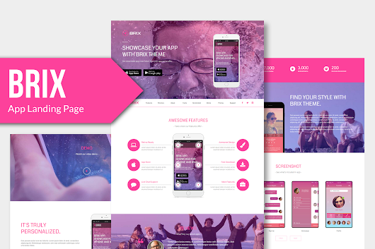 BRIX - Mobile App landing page Muse Template