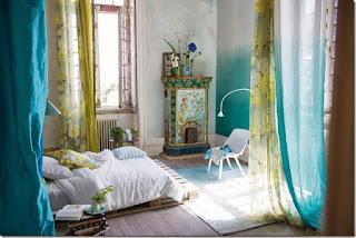 habitación verde turquesa