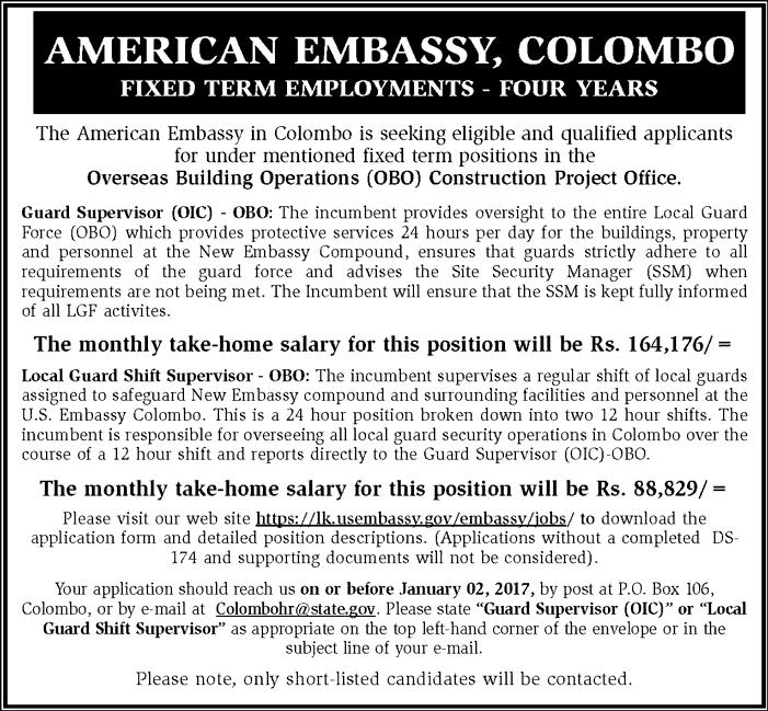 Vacancies] Guard Supervisor - American Embassy   Derana Jobs