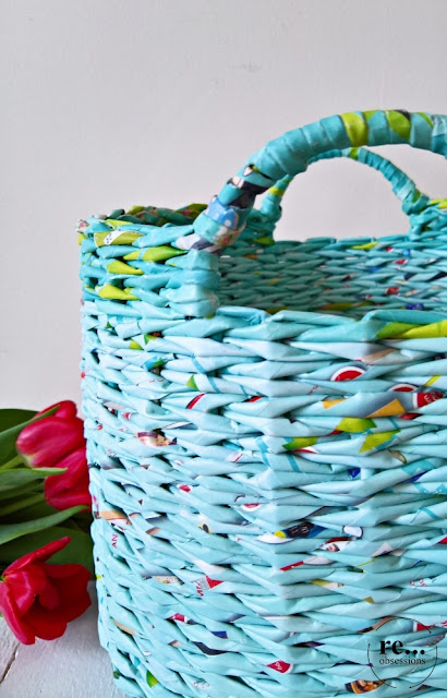paper, recycle, upcycle, paper wicker, basket, papierowa wiklina, koszyk, aquamarine