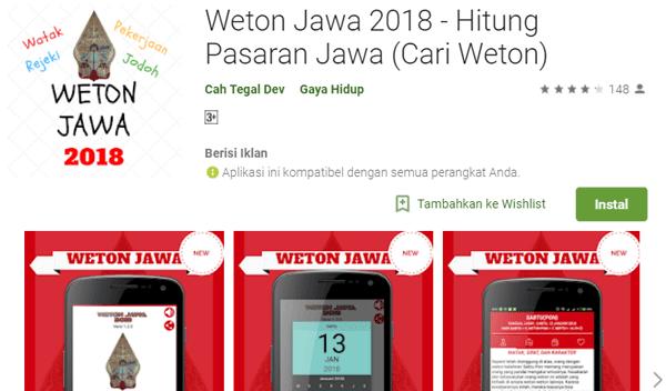 aplikasi hitung pasaran jawa atau cari weton 2018