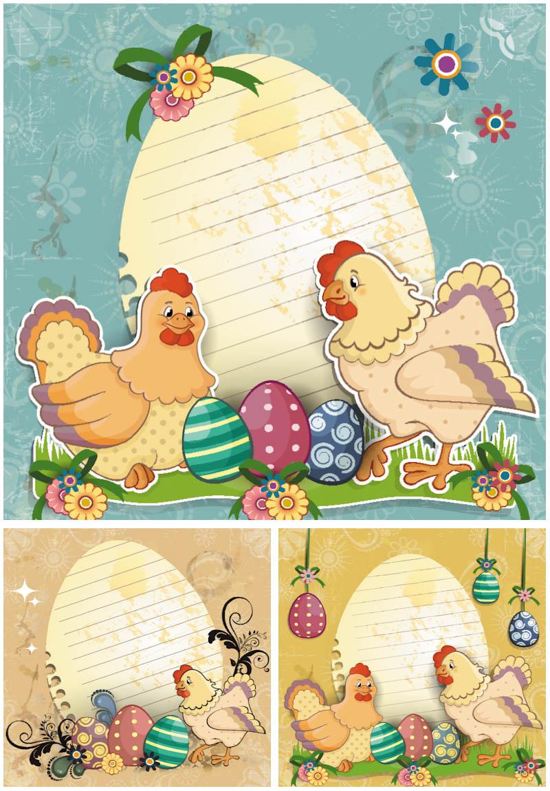postal pascua en vector con gallina