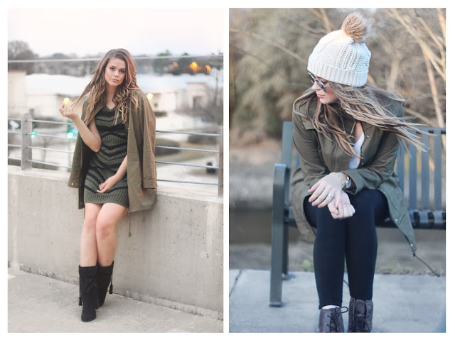 Army Olive Green Coat Day to Night Look