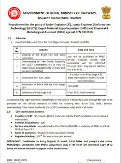 Railway JE Exam Date